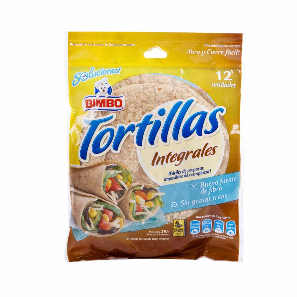 BIMBO TORTILLAS INTEGRALES X 310 GR