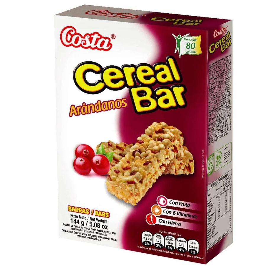 COSTA CEREAL BAR ARANDANOS X8 BARRASX144G
